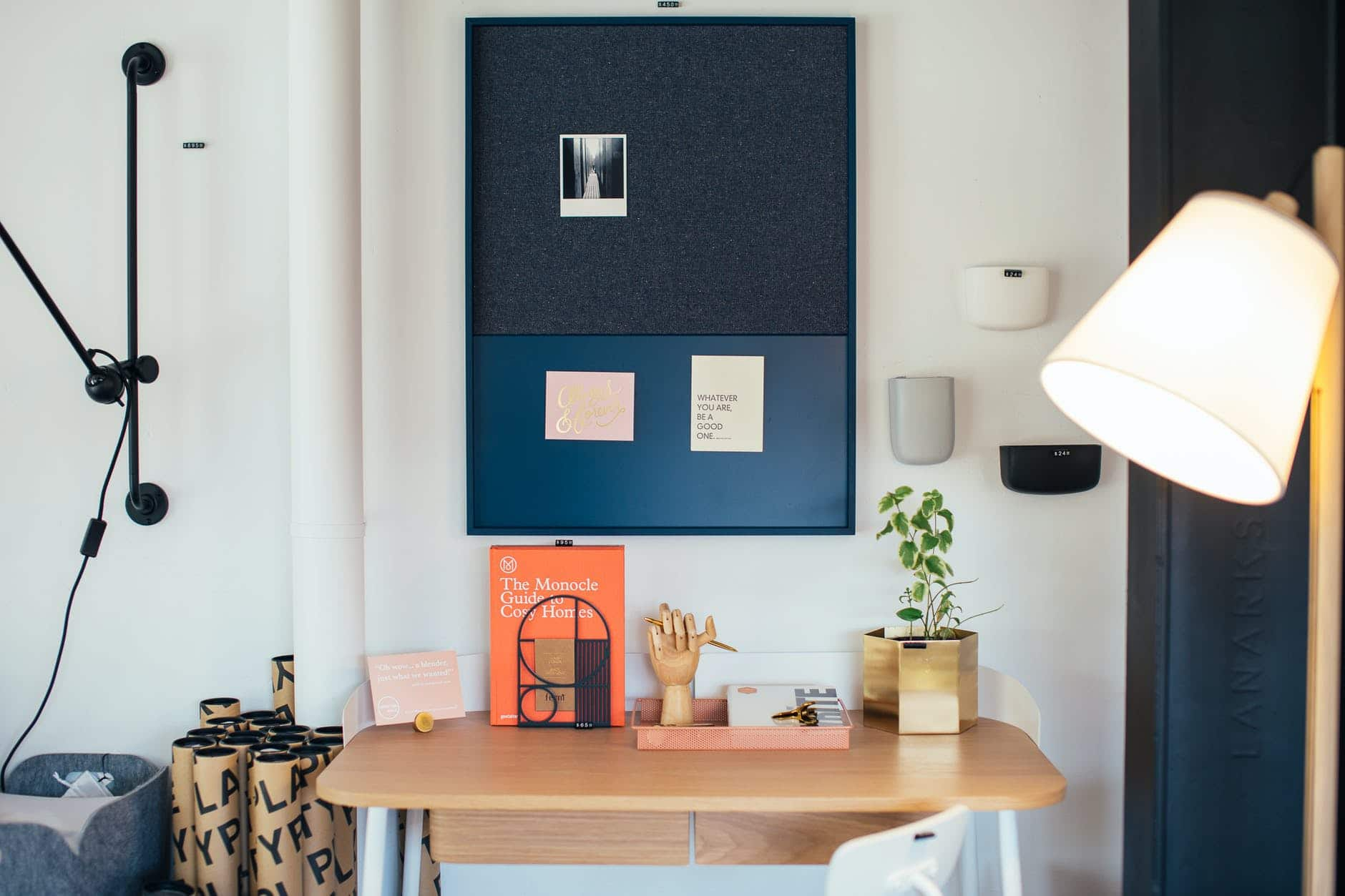 creative workplace with books and decorative elements at home